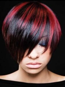 red highlighted hair
