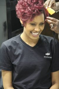 red hair colour for afro hair, top afro hair salon in London