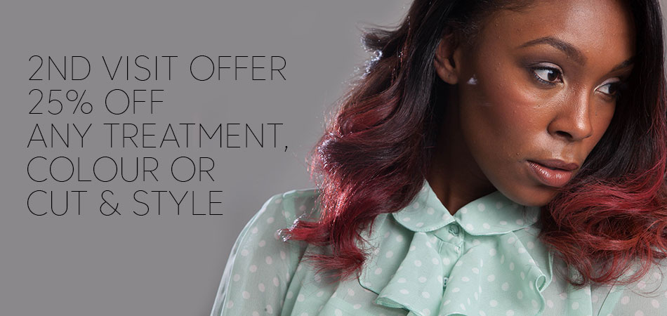 2ND-VISIT-OFFER-25% off any treatment,colour, cut or style, Afrotherapy Hair Salon in Edmonton, London